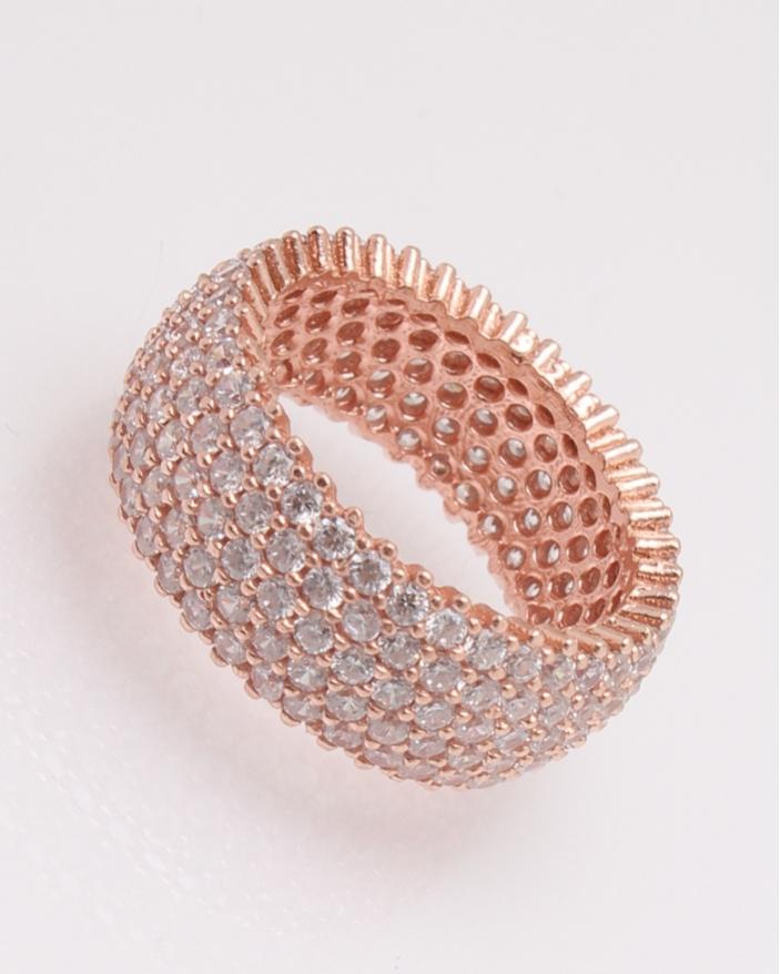 Inel argint tennis roz cu cinci randuri de pietre cod 1-30443, gr5
