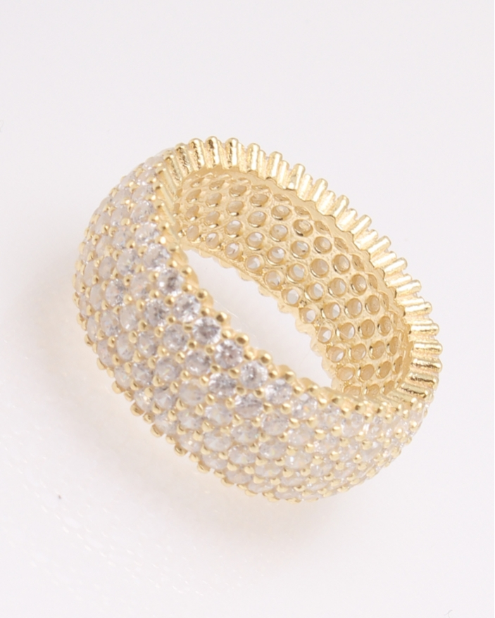 Inel argint tennis galben cu trei randuri de pietre albe cod 1-30470, gr5.5
