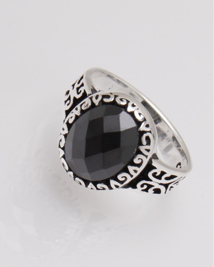 Inel argint piatra neagra cod 1-31806, gr3.9