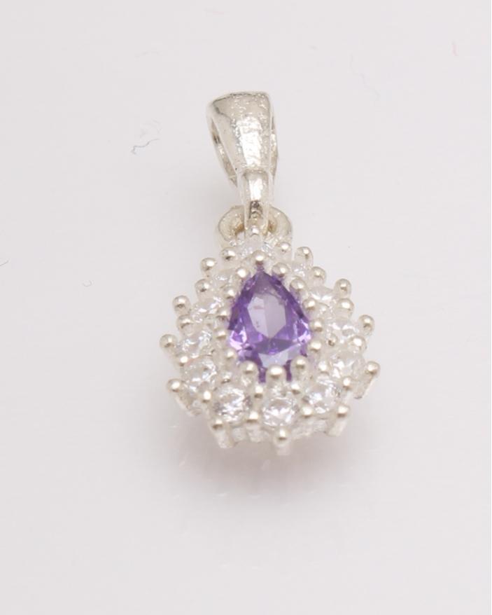 Pandantiv argint lacrima cu piatra lila cod 6-27078. gr0.9