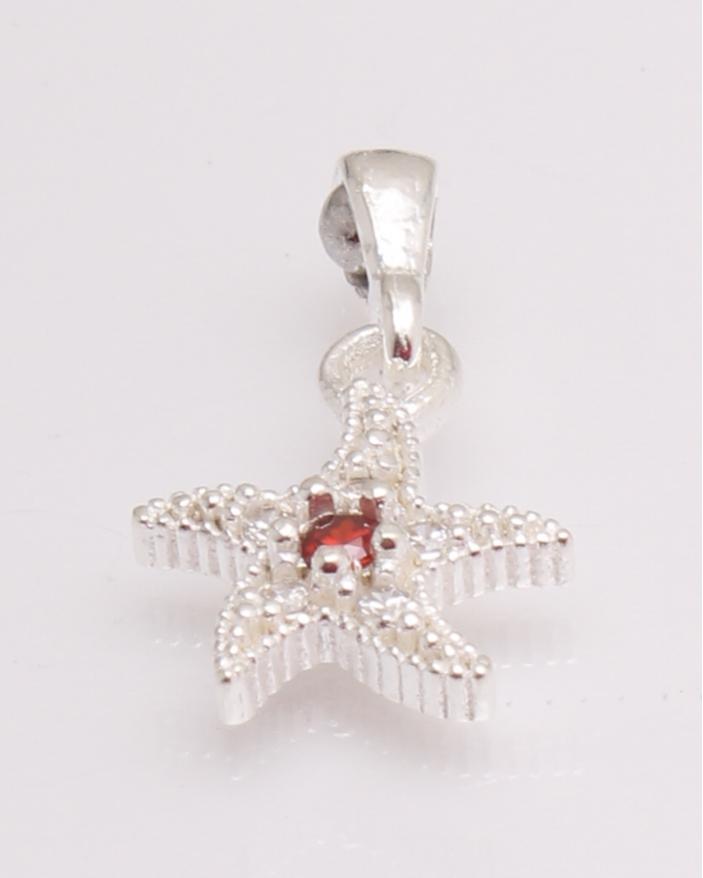 Pandantiv argint steluta cu piatra rosie cod 6-29427. gr0.9