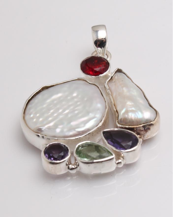 Pandantiv argint perla de cultura, ametist, peridot, granat cod 6-32378. gr10.2