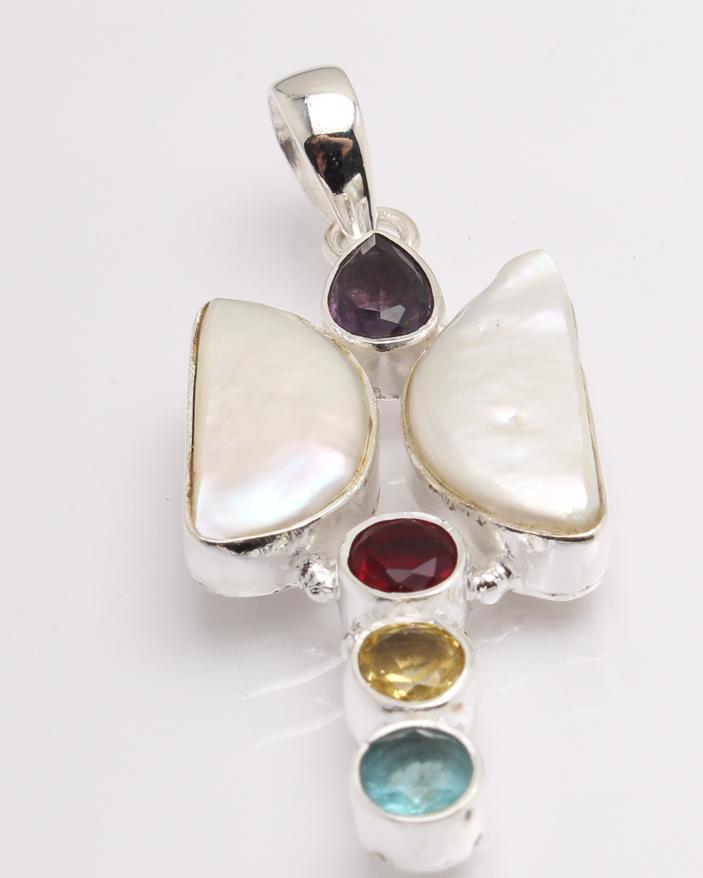 Pandantiv argint perla de cultura si cuart cod 6-32380. gr9.5