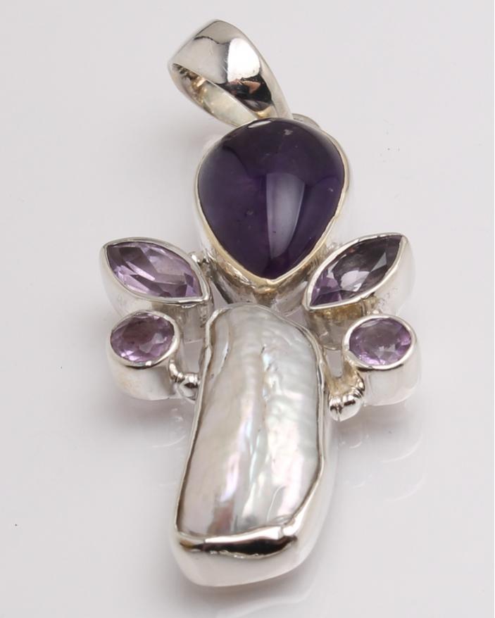 Pandantiv argint perla de cultura si ametist cod 6-32383. gr7.5
