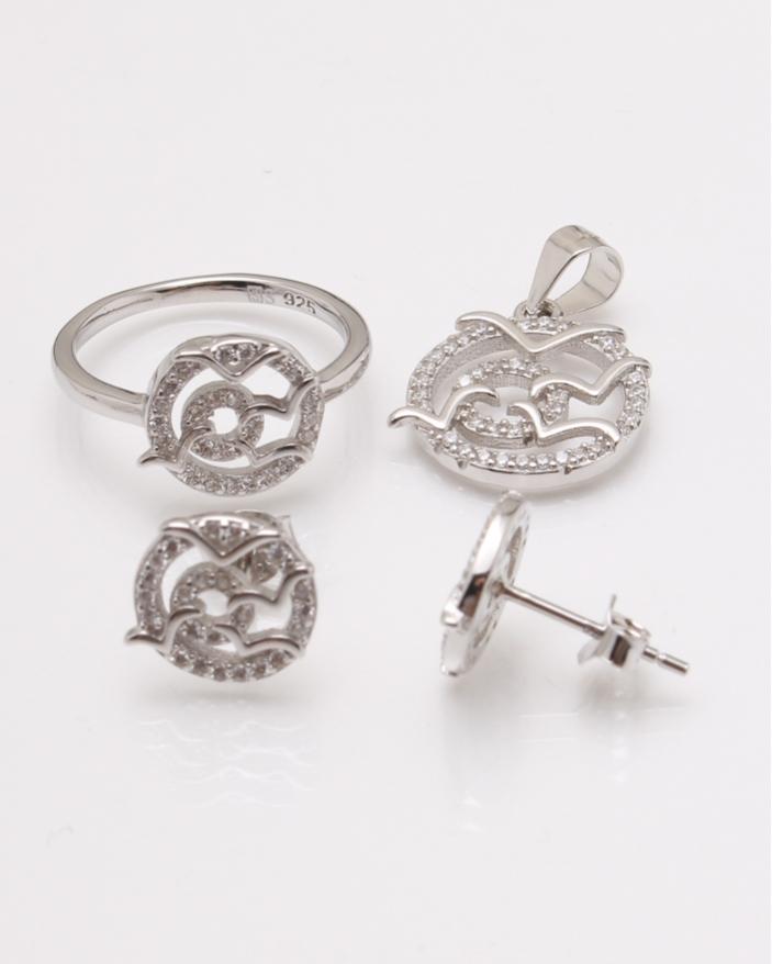 Set argint pasari si pietre albe cod 3-22770, gr5