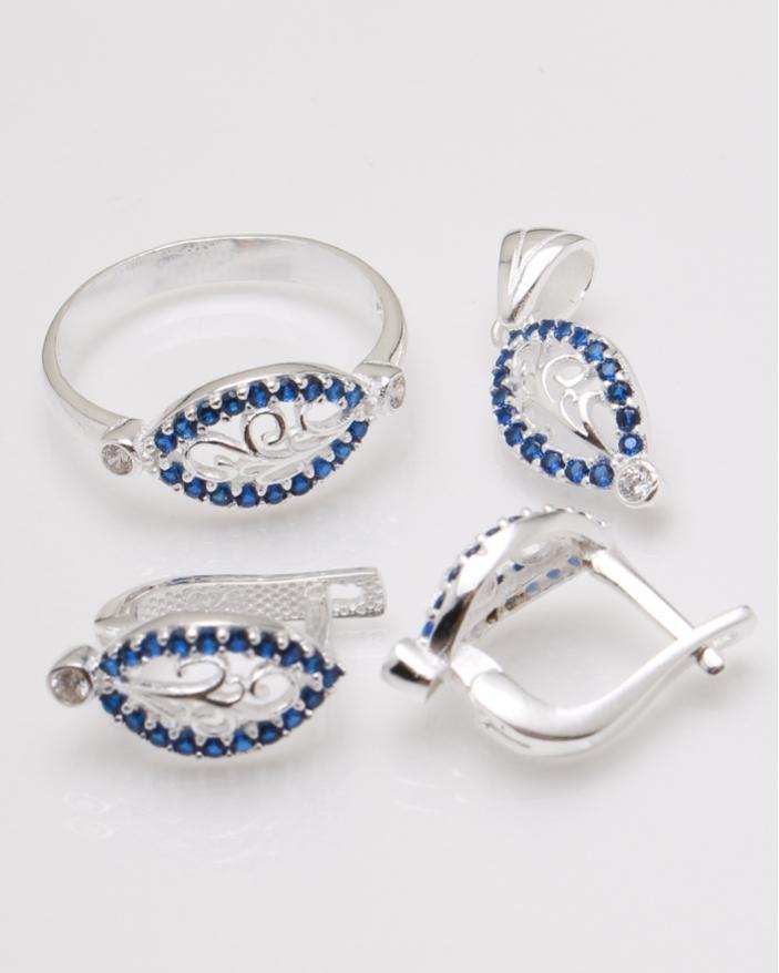 Set argint pietre albastre cod 3-23189, gr6.3