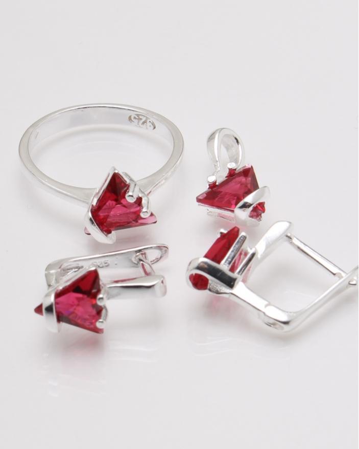 Set argint piatra roz cod 3-23313, gr7