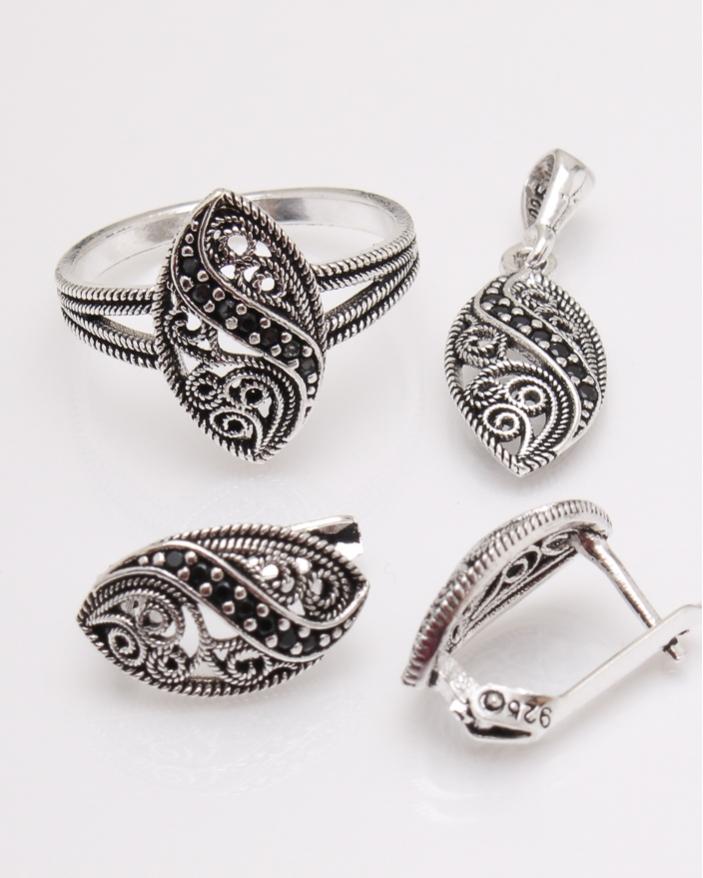 Set argint filigran pietre mici negre cod 3-23836, gr6.8