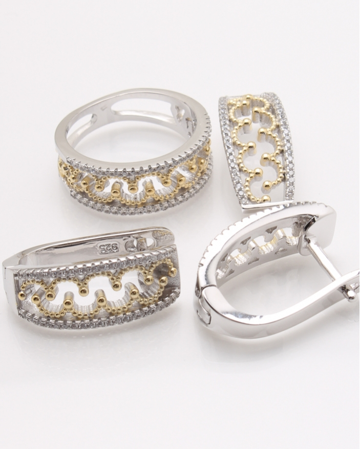 Set argint rodiat cu galben cod 3-23994, gr10.1