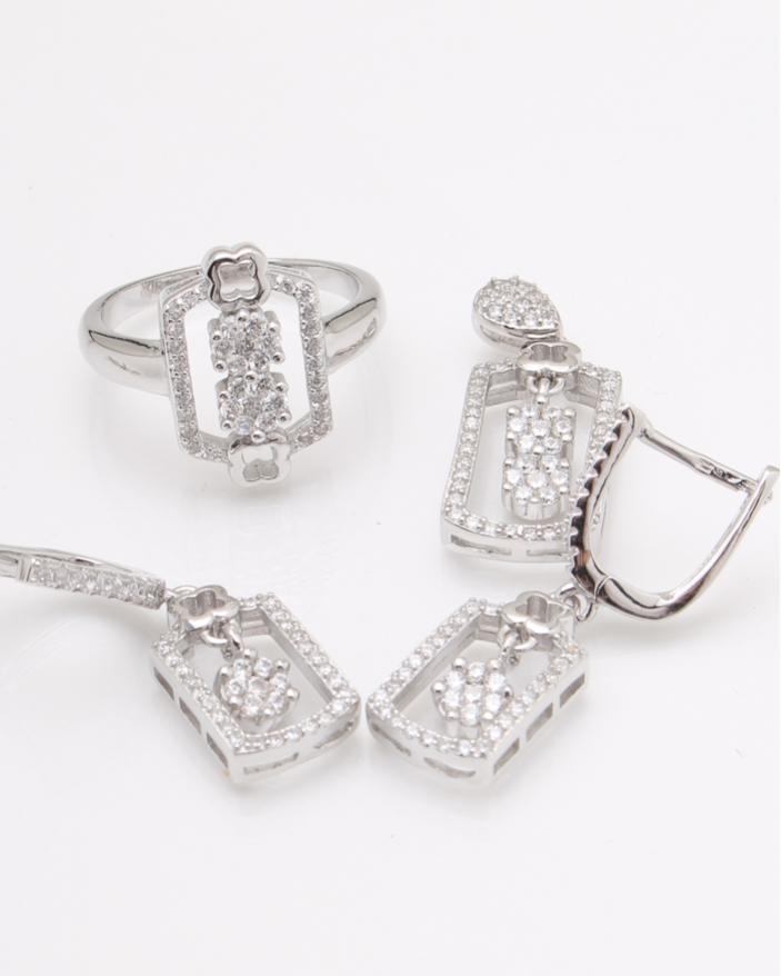 Set argint pietre albe cod 3-24100, gr10.8