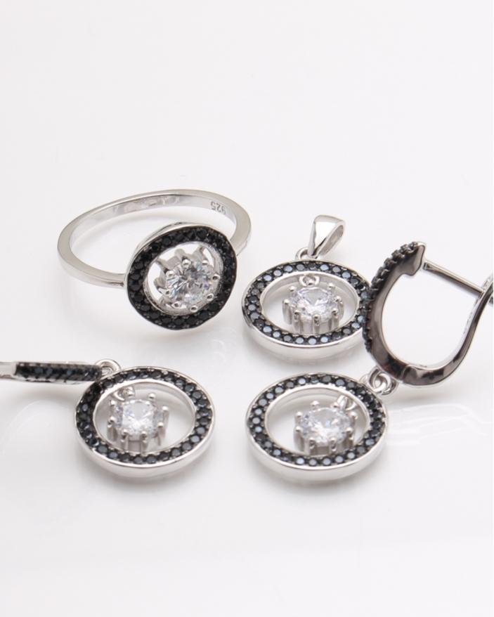 Set argint pietre negre cod 3-24120, gr9.6