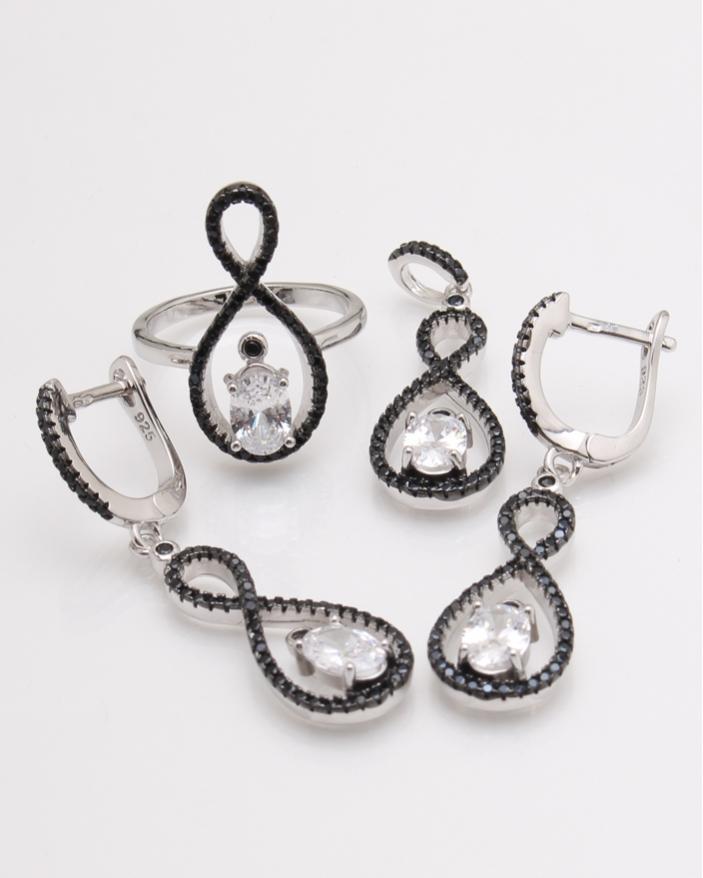 Set argint pietre negre cod 3-24126, gr11.4