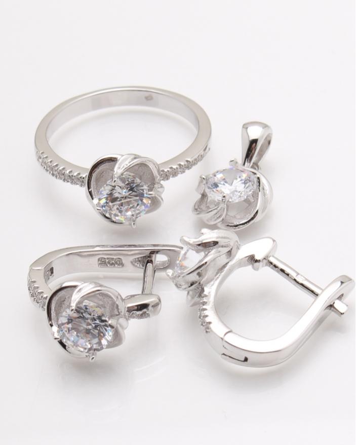 Set argint floare cu pietre albe cod 3-24238, gr10.1