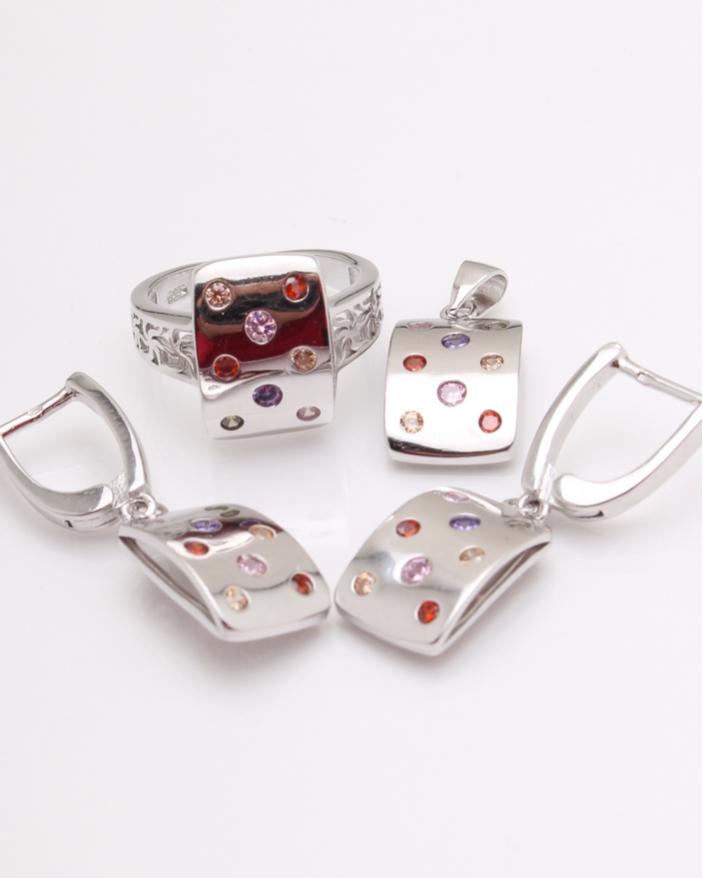 Set argint rodiat cu pietricele colorate cod 3-24589, gr11.1