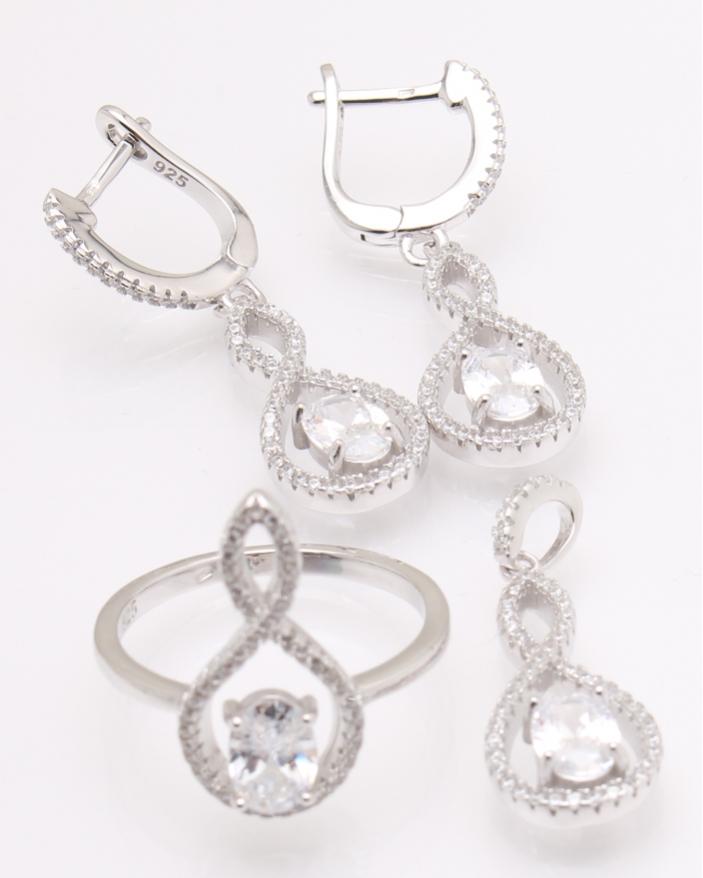 Set argint rodiat si cubic zirconia cod 3-26197, gr10.6