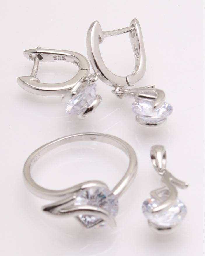 Set argint rodiat si cubic zirconia cod 3-26208, gr10.6