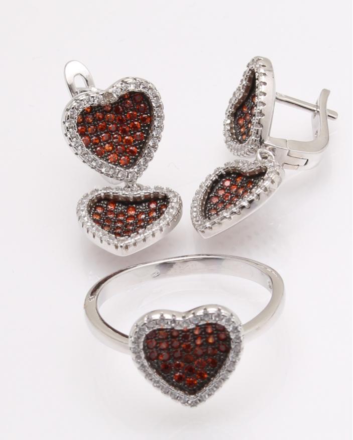 Set argint inima cu pietre cod 3-26231, gr11.7