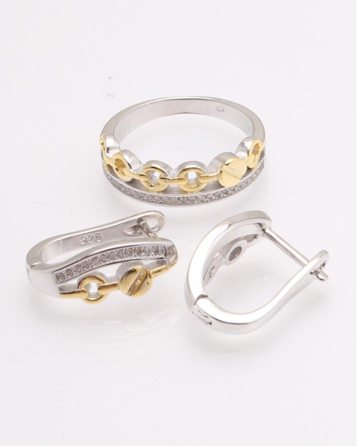 Set argint rodiat cu galben cod 3-26990, gr7.6