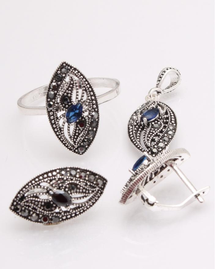 Set argint cu piatra albastra si marcasite cod 3-29707, gr8