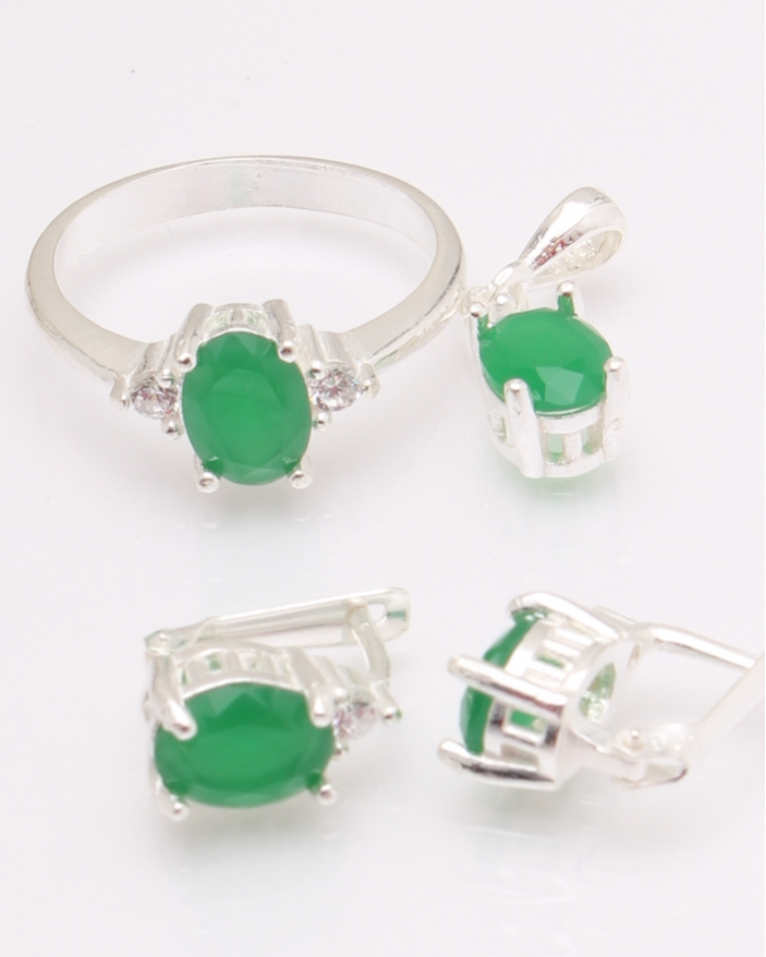Set argint cu piatra ovala verde cod 3-30250, gr6.6