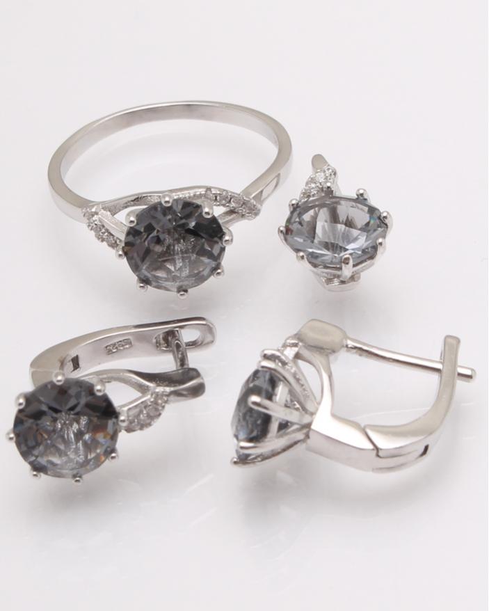 Set argint cu piatra rotunda cenusie cod 3-31295, gr7.3