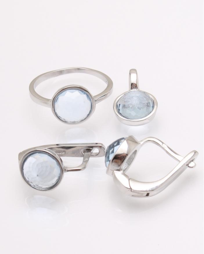 Set argint piatra rotunda bleau cod 3-31299, gr7.7