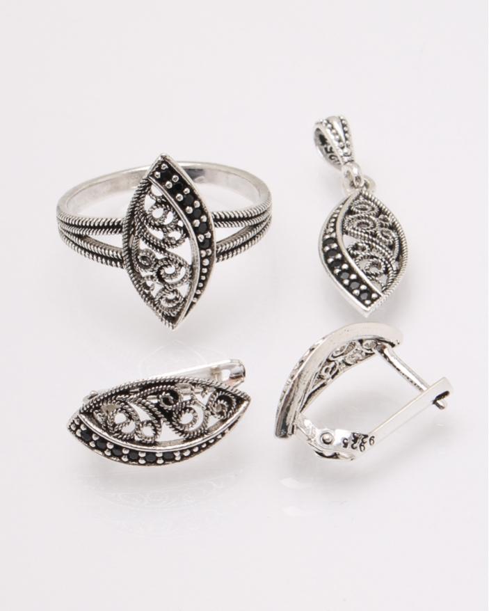 Set argint cu pietre negre cod 3-31394, gr6.4